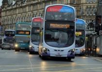 Buses outside Leeds City Markets