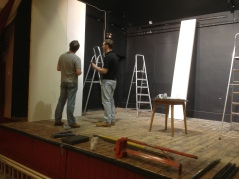 Adel Players members Rob Colbeck and Chris Andrews work on the set for 'Ghosts'